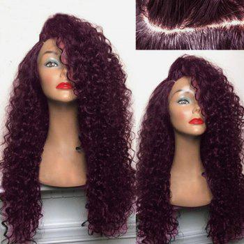Long Shaggy Deep Side Parting Kinky Curly Synthetic Wig
