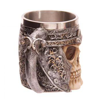3D Stainless Steel Skull Mug - BROWN