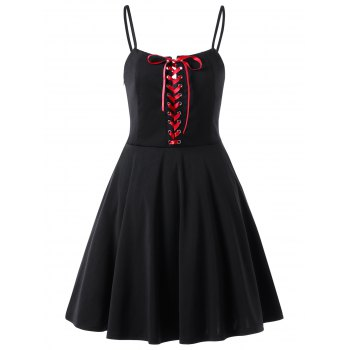 Lace Up Slip Skater Dress