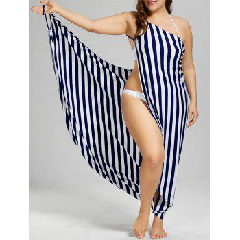 Plus Size Vertical Stripe Cover Up Maxi Dress