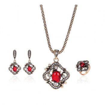 Artificial Ruby Necklace Ring and Earrings Set
