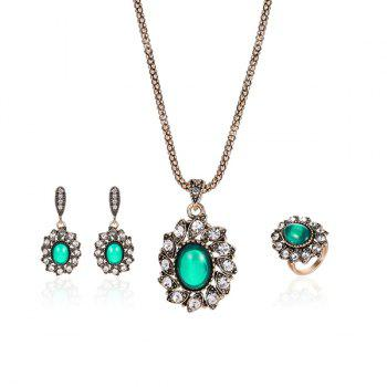Faux Emerald Oval Necklace Ring and Earrings Set