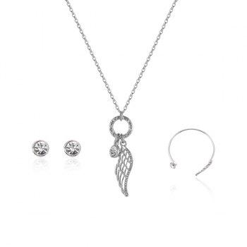 Angel Wing Necklace Bracelet and Earrings Set