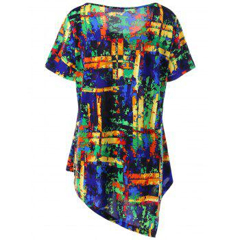 Plus Size Multi All-printed Asymmetric T-shirt - COLORMIX 3XL
