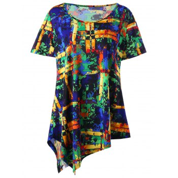 Plus Size Multi All-printed Asymmetric T-shirt