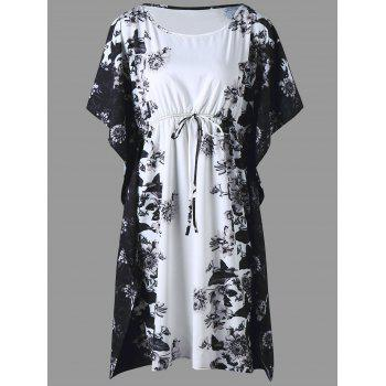 Plus Size Floral Bat-sleeve Drawstring Dress