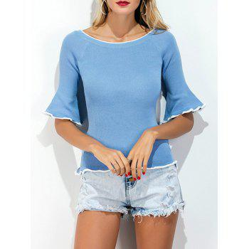 Boat Neck Bell Sleeve Knit Top
