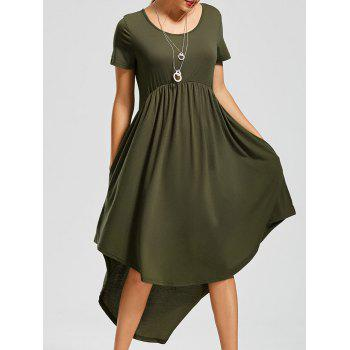 Pockets High Low Scoop Neck Dress