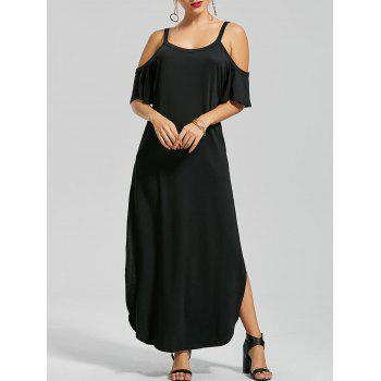 Pockets Slit Cold Shoulder Maxi Dress