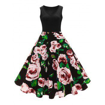 Vintage Floral Print A Line High Waisted Dress