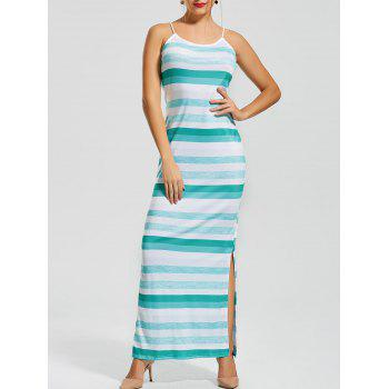 Stripe Fitted Slit Maxi Slip Dress
