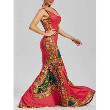 U Neck Printed Floor Length Mermaid Dress