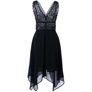 Sleeveless Chiffon Lace Party Dress - BLACK BLACK