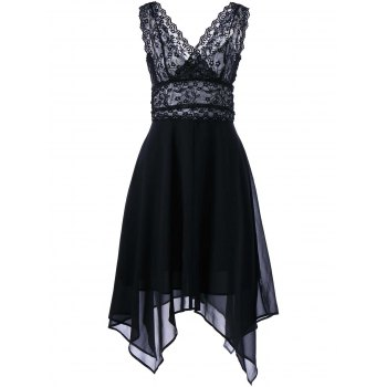 Sleeveless Chiffon Lace Party Dress - BLACK XL