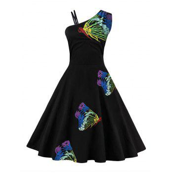 One Shoulder Butterfly Embroidered Flare Dress
