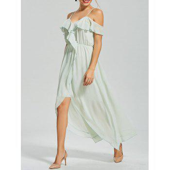 Front Slit Ruffle Chiffon Slip Dress