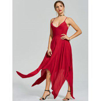 Criss Cross Back Slip Asymmetric Handkerchief Dress - RED XL