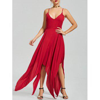 Criss Cross Back Slip Asymmetric Handkerchief Dress