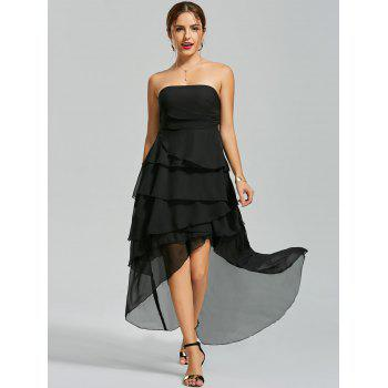 Tiered High Low Evening Gown Bandeau Dress - BLACK BLACK