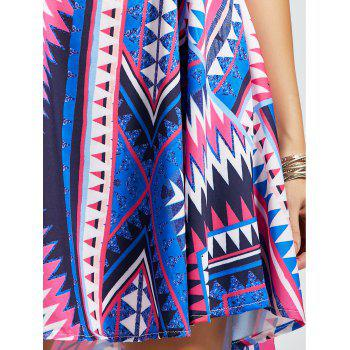 Geometric Print Casual Slip Dress - multicolor S
