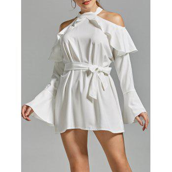 Cold Shoulder Flare Sleeve Mock Neck Dress