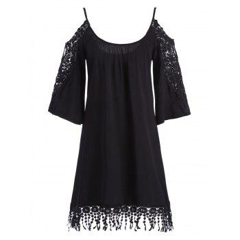 Cold Shoulder Fringed Lace Insert Mini Shift Dress