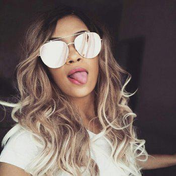 Long Oblique Bang Colormix Wavy Synthetic Wig