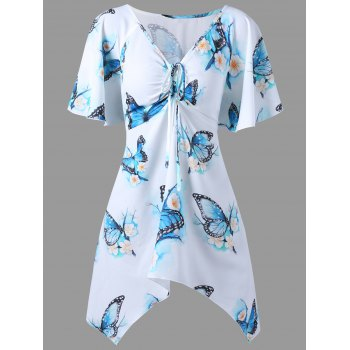 Plus Size Butterfly Printed Dressy Long T-shirt