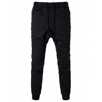 Zipper Pocket Drop Crotch Drawstring Jogger Pants