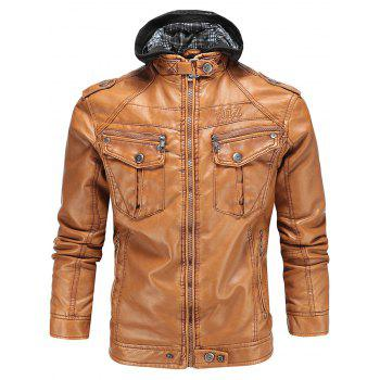 Hooded Faux Leather Flocking Biker Jacket