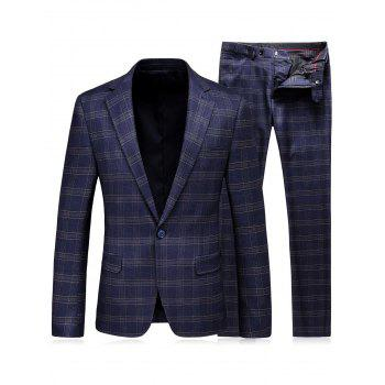 Lapel Tartan One Button Blazer and Pants Twinset