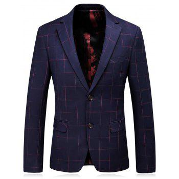 Single Breasted Lapel Checked Slim Fit Blazer