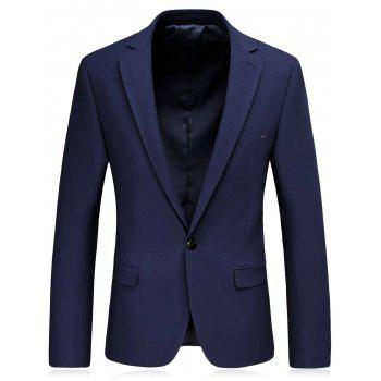 Slim Fit Lapel One Button Blazer and Pants Twinset - Bleu M