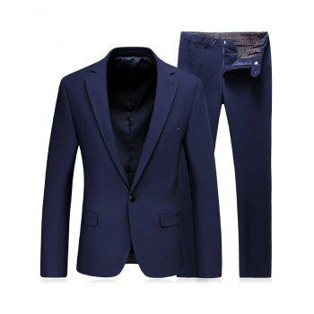 Slim Fit Lapel One Button Blazer and Pants Twinset