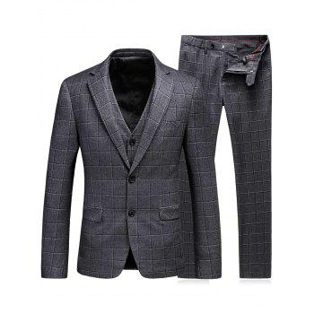 Plaid Single Breasted Three-Piece Suit ( Blazer + Waistcoat + Pants )