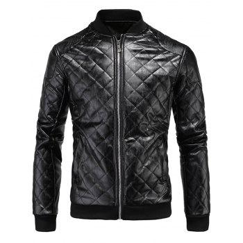 Zipper Up Rhombus PU Bomber Jacket