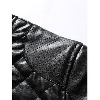 Zipper Up Rhombus PU Bomber Jacket - Noir M