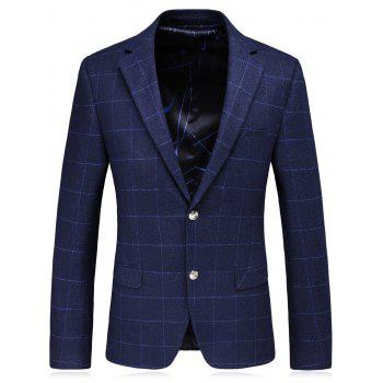 Lapel Plaid Slim Fit Single Breasted Blazer