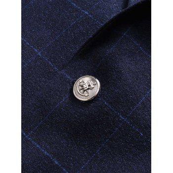 Lapel Plaid Slim Fit Single Blasted Blazer - Bleu 3XL