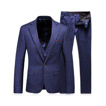 Checked Single Breasted Three-Piece Suit ( Blazer + Waistcoat + Pants )