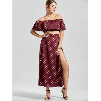 Off The Shoulder Polka Dot Three Piece Dress - WINE RED M