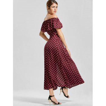 Off The Shoulder Polka Dot Robe à trois pièces - Rouge vineux XL