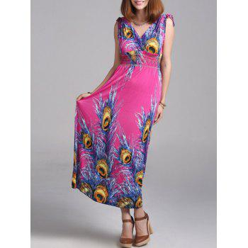 Bohemian Peacock Feather Maxi Dress