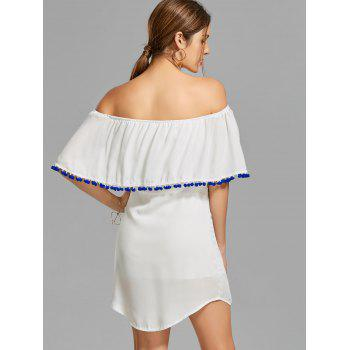Off The Shoulder Embroidered Flounce Dress - S S