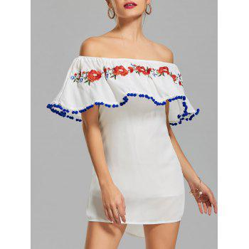 Off The Shoulder Embroidered Flounce Dress