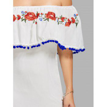 Off The Shoulder Embroidered Flounce Dress - WHITE XL
