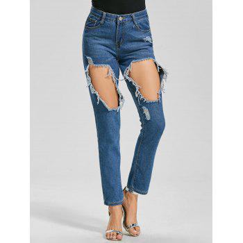 Cut Out Ankle Length Ripped Jeans - BLUE S