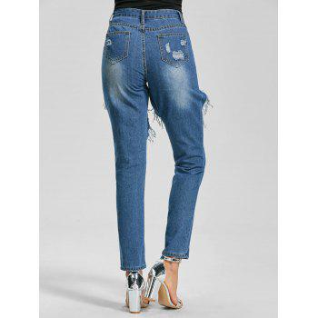 Cut Out Ankle Length Ripped Jeans - BLUE 2XL