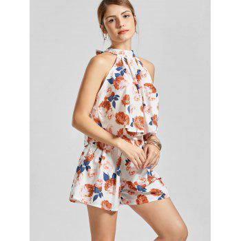 Floral Sleeveless Top with Mini Shorts - multicolor multicolor