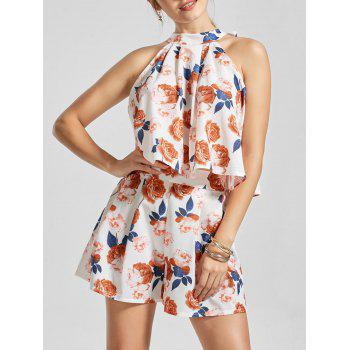 Floral Sleeveless Top with Mini Shorts - MULTI multicolor